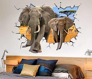 Elephant Breaking Through Wall Decal