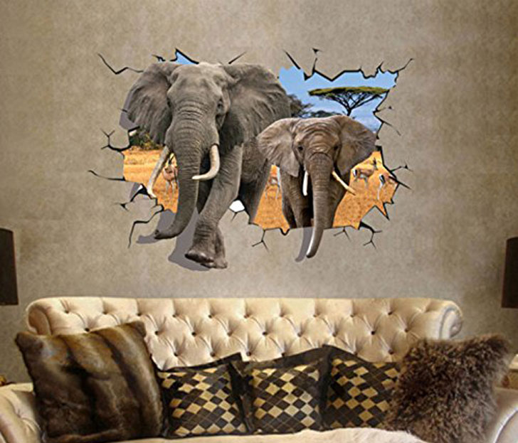 elephant breaking through wall stickers