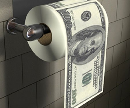 money toilet paper roll