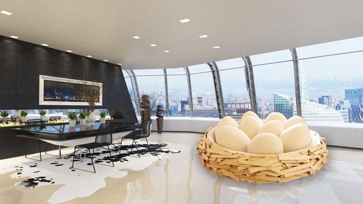 giant birds nest bed - corporate theme