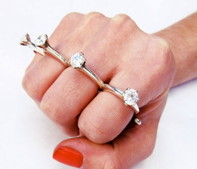 Brass Knuckle Engagement Ring