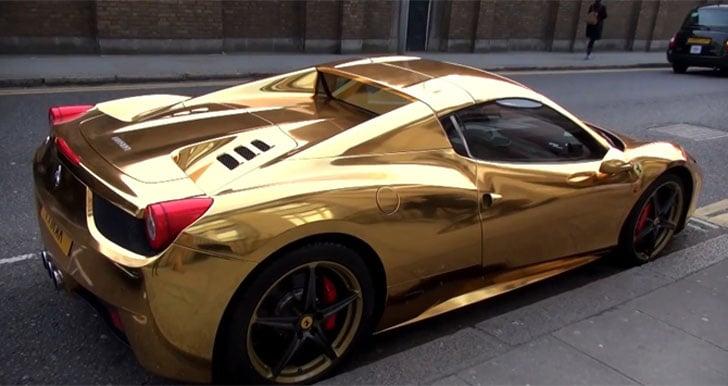 Car That Runs On Air >> Gold Ferrari 458 Spider - Awesome Stuff 365