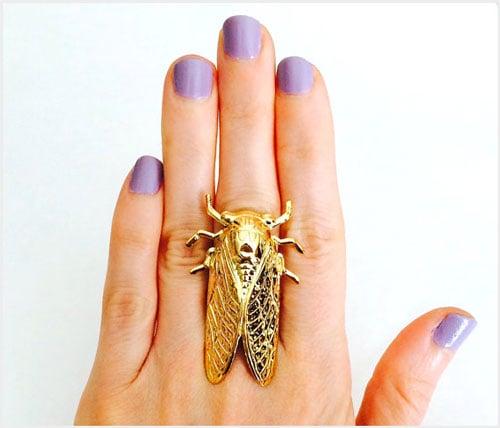 18 Karat Gold Plated Cicada Ring