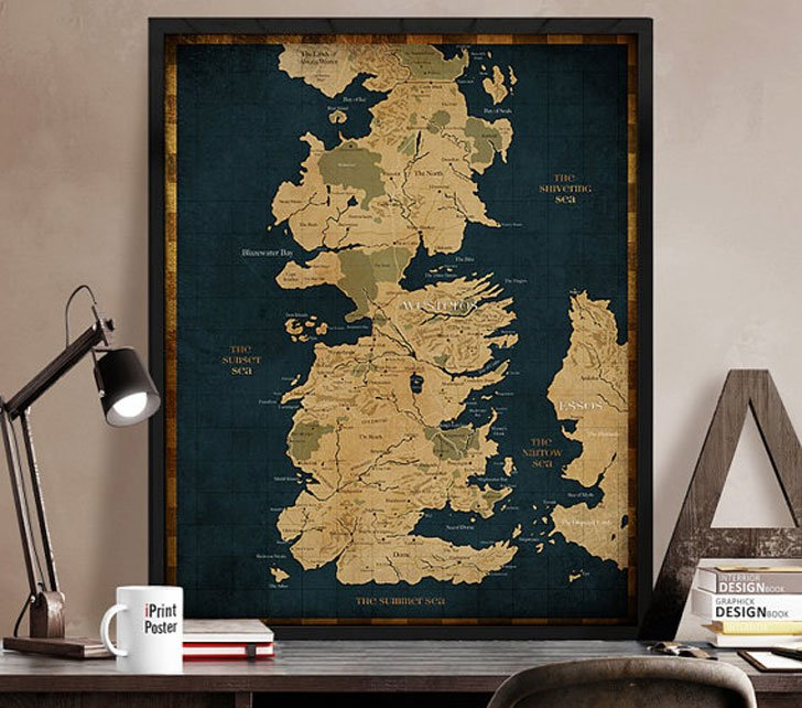 G.O.T Map Print - Cool Game Of Thrones Gift Ideas
