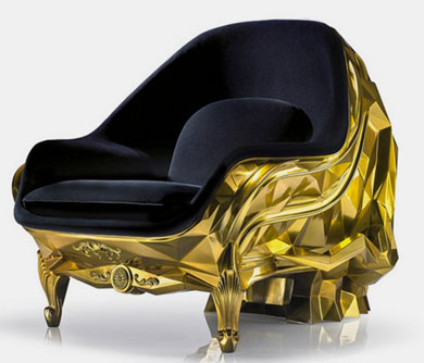 Gold Skull Arm Chair
