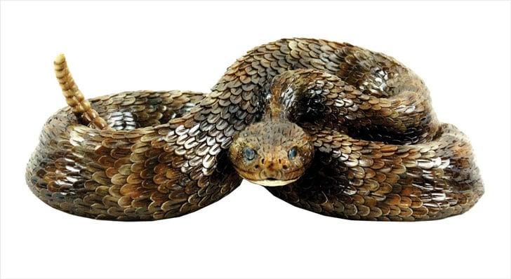 Realistic Western Diamondback Rattlesnake Statue