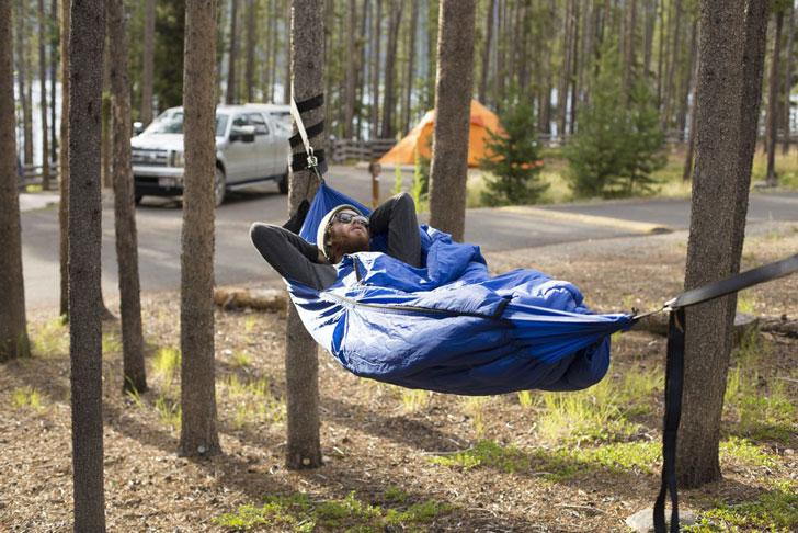 sleeping bag hammock - coolest camping gadgets