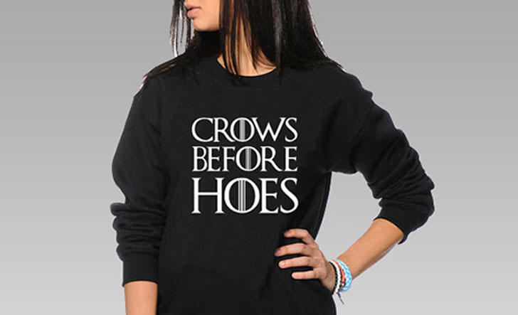 Crows Before Hoes Sweater - Cool Game Of Thrones Gift Ideas