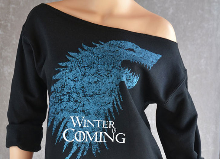 Winter Is Coming Slouchy Flashdance-Style Sweatshirt - Cool Game Of Thrones Gift Ideas