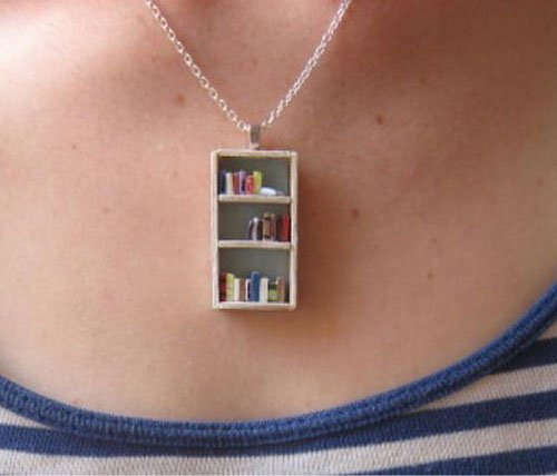 Tea Shop Bookshelf Necklace