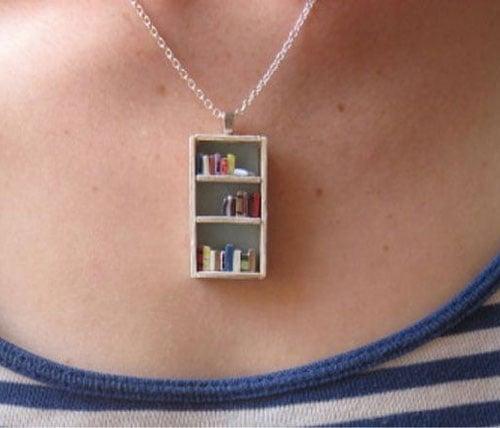 Tea Shop Bookshelf Necklace