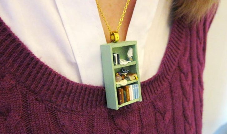 Tea Shop Bookshelf Necklaces