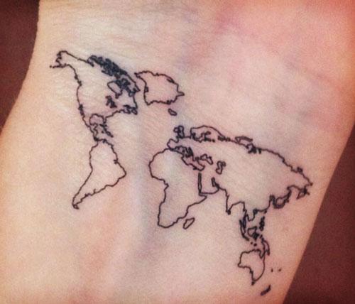 Temporary World Map Tattoo