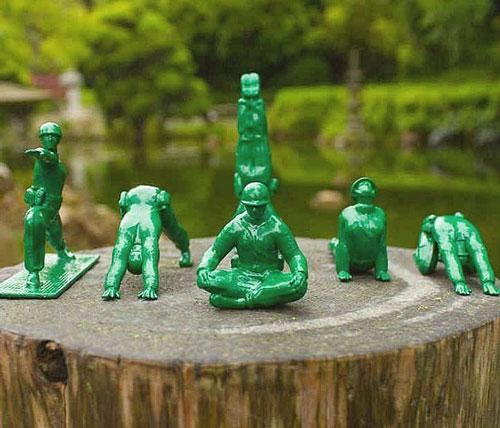 Yoga Pose Green Army Men