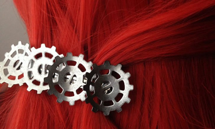 Bent Gear hairclip - Steampunk Gifts For Her