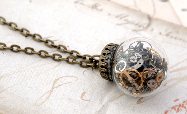 Glass Dome Globe Pendant Necklace - Steampunk Gifts For Her