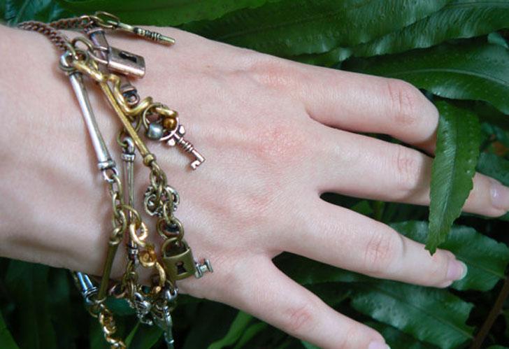 Gypsy Steampunk Lock & Key Charm Bracelet - Steampunk Gifts For Her