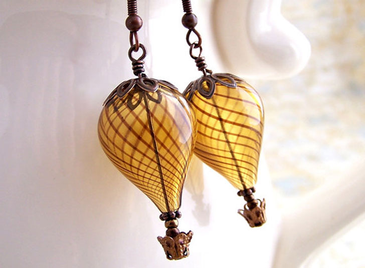 Hot Air Balloon Earrings - Steampunk Gifts For Her