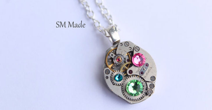 Mother's Birthstone Pendant Necklace - Steampunk Gifts For Her