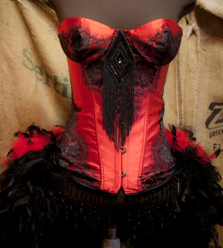 Red Salon Girl Dress - Steampunk Gifts For Her