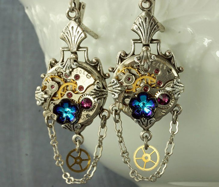 Silver Steampunk Earrings - Steampunk Gifts For Her