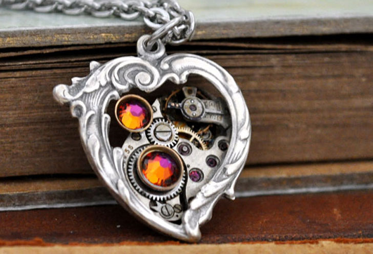 "Steampunk ""In My Heart"" Pendant Necklace - Steampunk Gifts For Her"