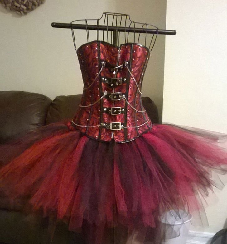 Studded Buckle Corset w/ Tulle Bustle Skirt - Steampunk Gifts For Her