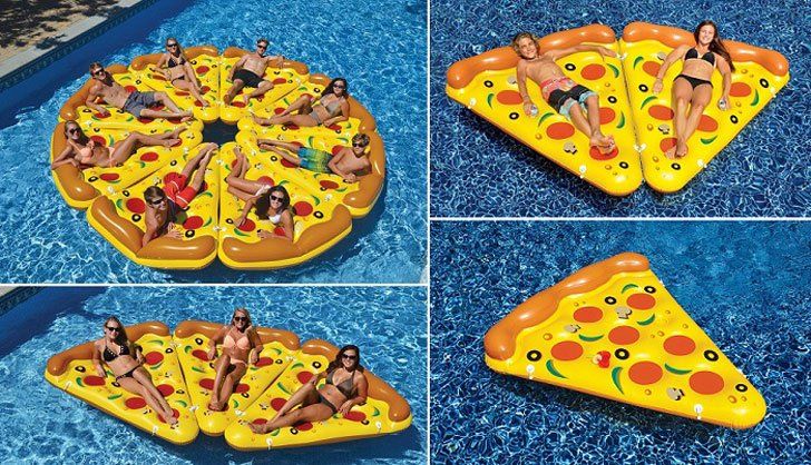 separate interlocking pizza slices, for the ultimate in pool time fun