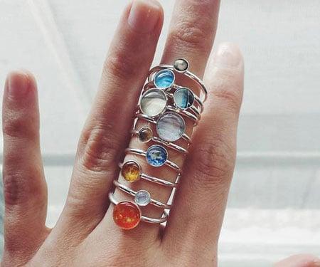 Solar System Silver Rings