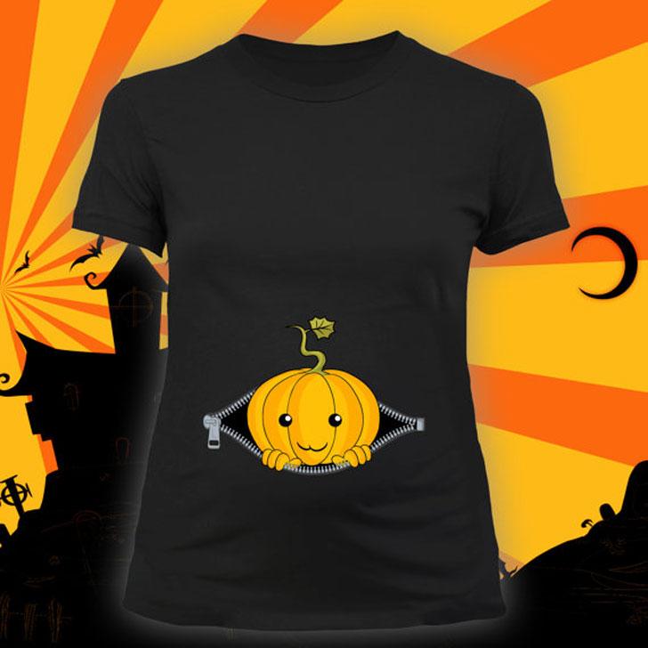 Peeking Pumpkin Halloween Maternity Shirt
