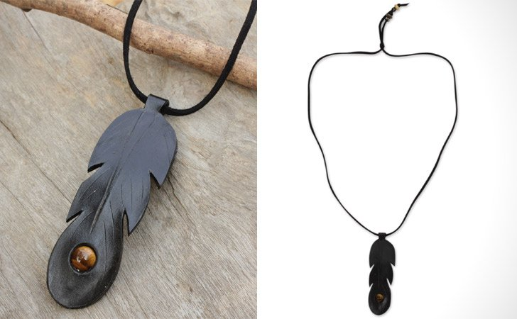 Black Leather Feather Necklace With Tiger's Eye