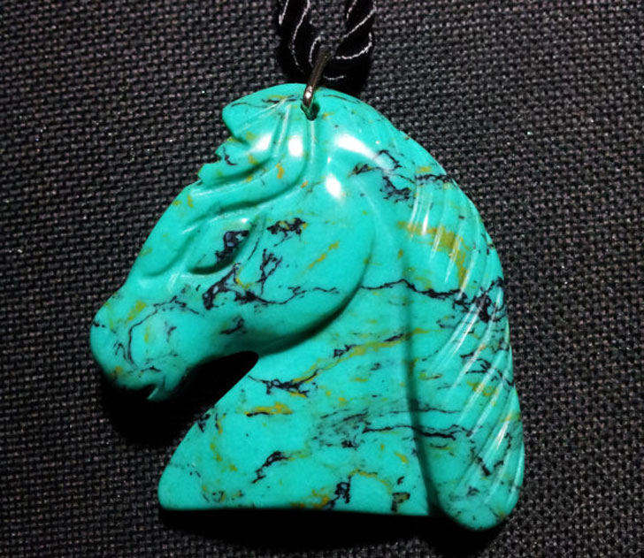 Carved Turquoise Horse Head Necklace