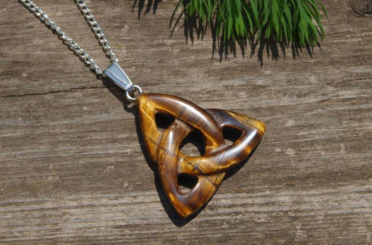 Celtic Knot Trinity Tiger Eye Pendant