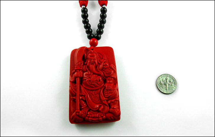 Chinese God of War Carved Cinnabar Necklace - meaningful necklaces for guys