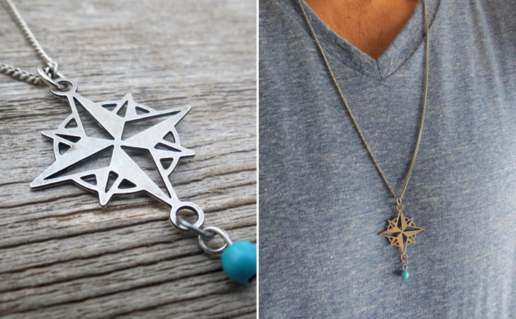 Compass Silver Pendant With Turquoise Bead