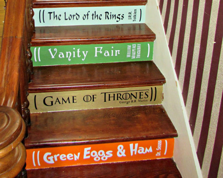 DIY Book Stairs Lettering