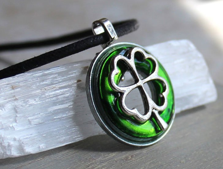 Green Four Leaf Clover Pendant