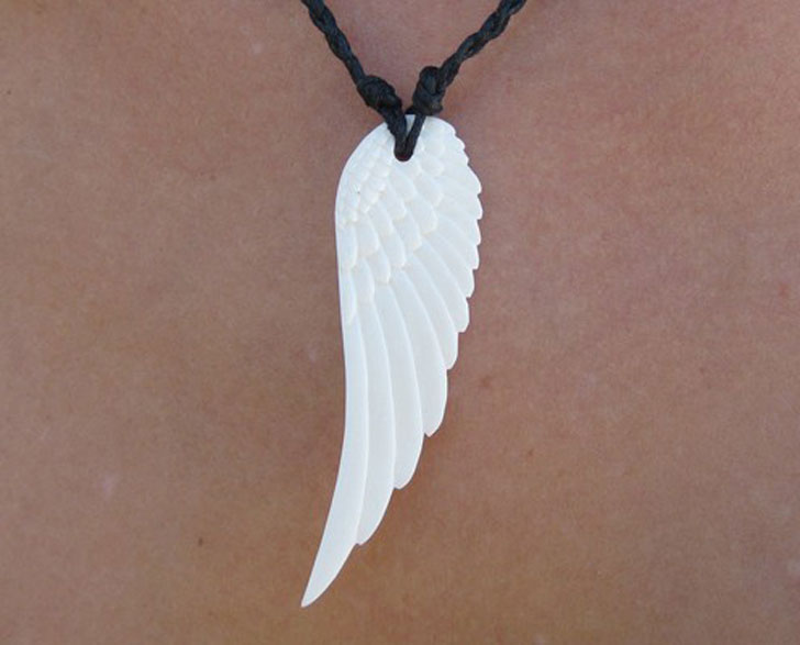 Hand Carved Angel Wing Pendant
