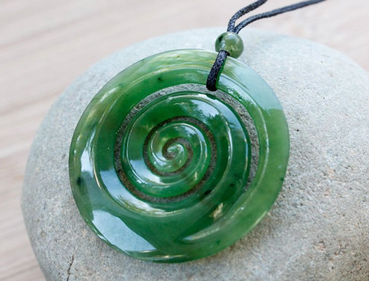 Hand Carved New Zealand Maori Jade Koru Necklace