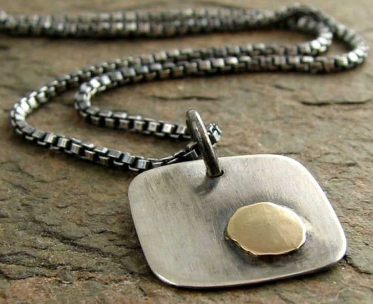 Handmade Contemporary Sterling Silver with 14k Gold necklace