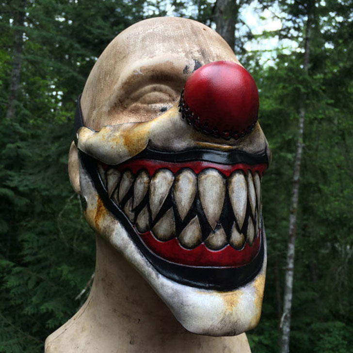 Leather Sharp Tooth Clown Mask - scary clown masks