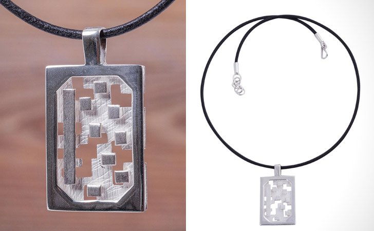 Magic Puzzle Silver And Leather Necklace