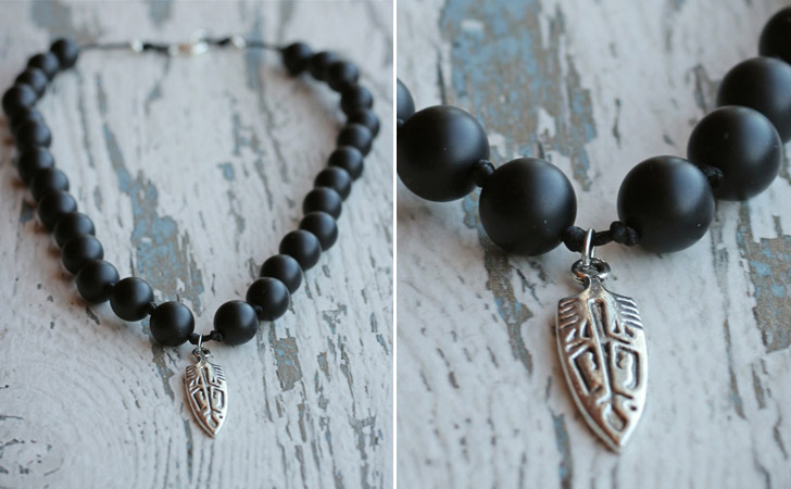 Matte Black Agate Beads Necklace
