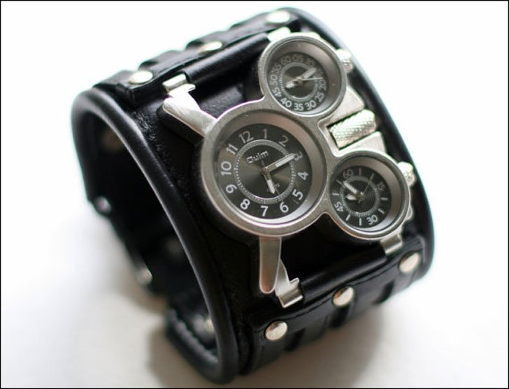 Mens Leather Cuff Steampunk Watch