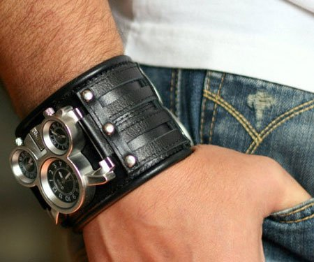 Mens Leather Cuff Steampunk Watch