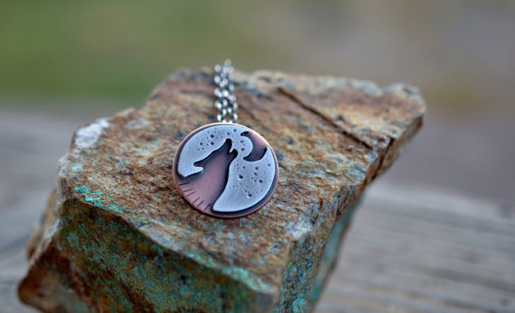 Mixed Metal Wolf Necklace