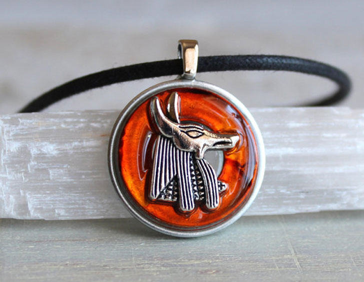 Orange Anubis Egyptian Necklace