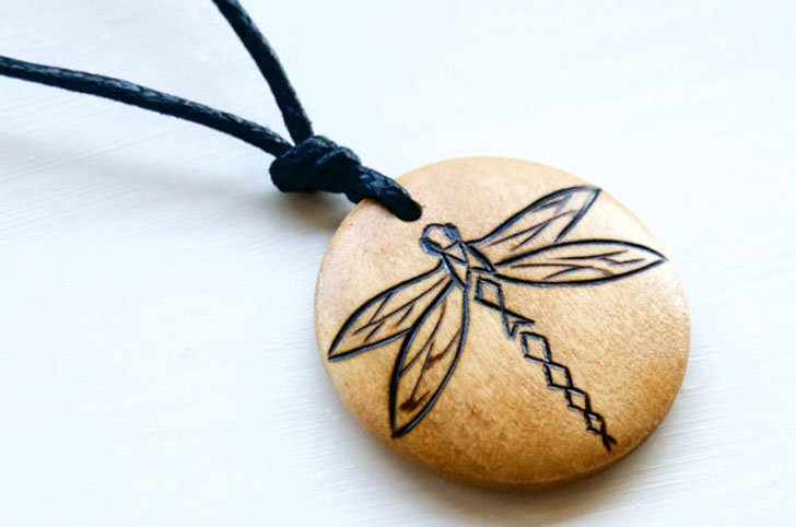 Rustic Wood Charm Dragonfly Necklace