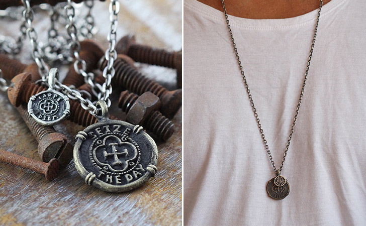 Seize The Day Antique Brass Necklace