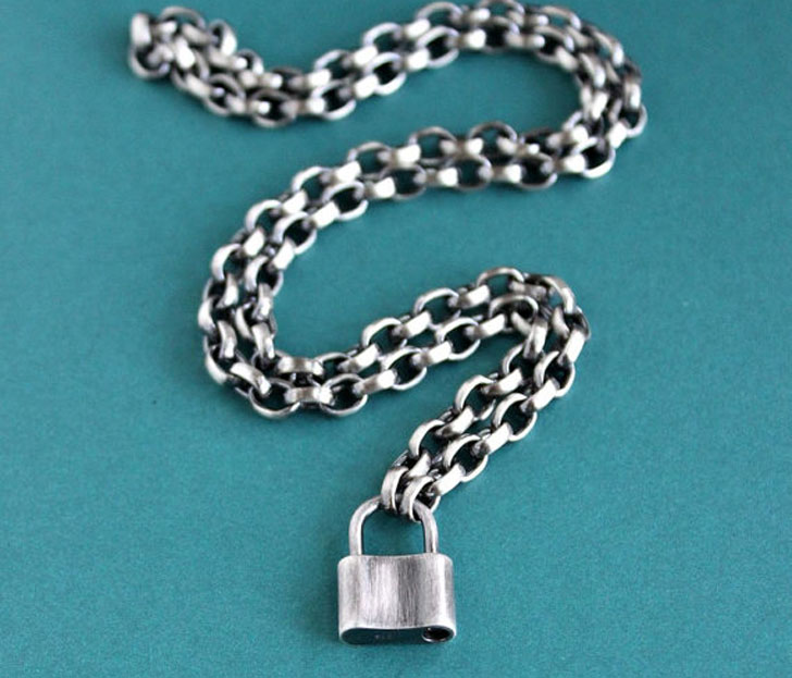 Solid Sterling Silver Padlock Pendant with Chunky Silver chain